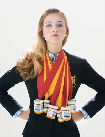 A young woman in a school uniform